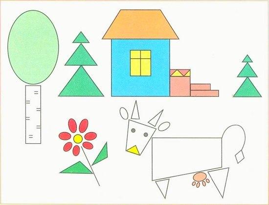 геометрические фигуры, аппликация из фигур