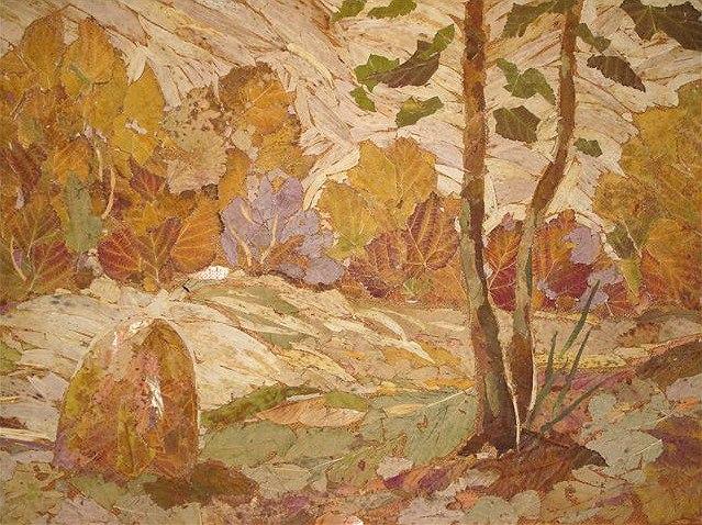 картина из листьев аппликация для взрослых