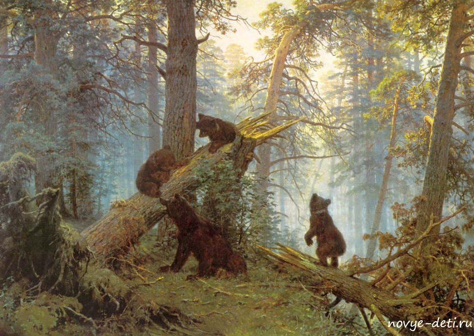 известная картина утро в сосновом лесу бору шишкин
