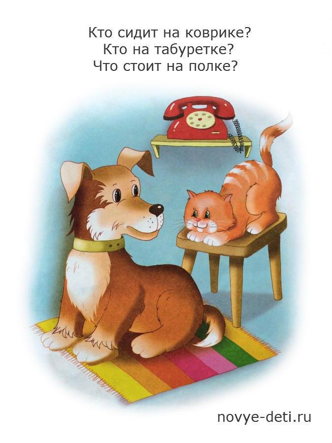 запомнить предметы на картинке, котенок и собака
