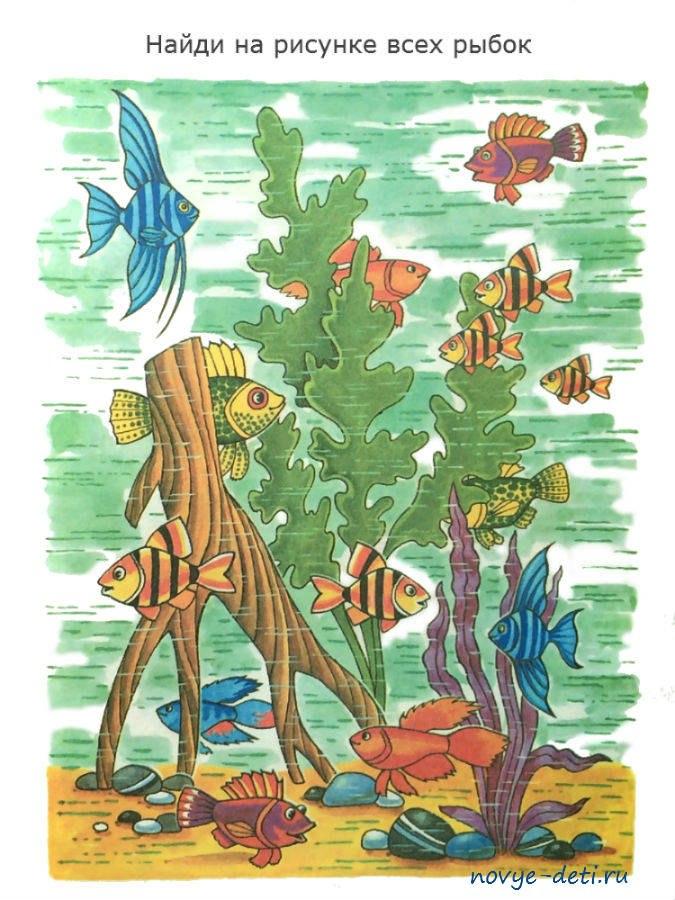 развитие внимания детей 4 лет найди рыбок