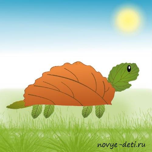 черепаха аппликация из сухих листьев