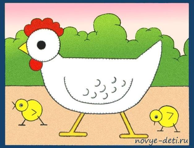 как нарисовать курицу и цыплёнка детям