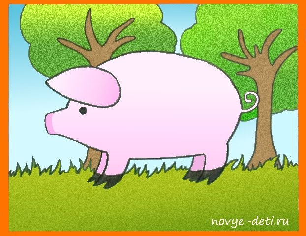 как нарисовать свинку поэтапно детям