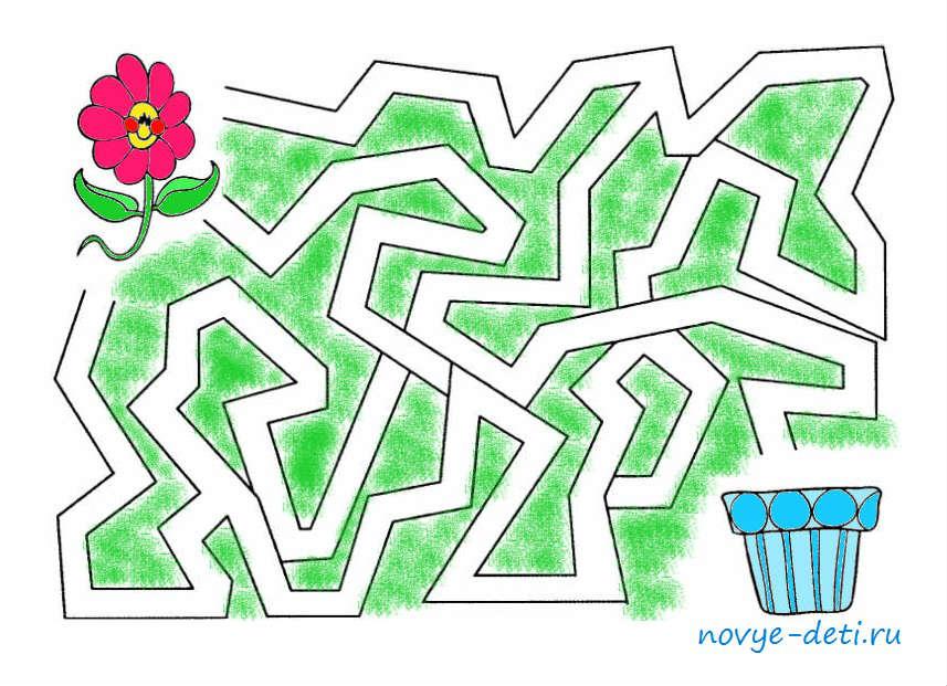 лабиринты детские, головоломка Посади цветочек, и