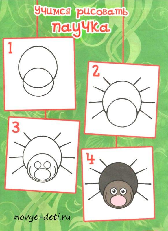 паук урок рисования для детей