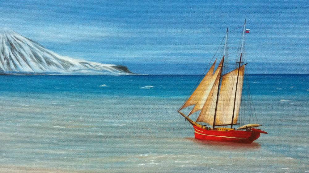 морской пейзаж маслом арктика