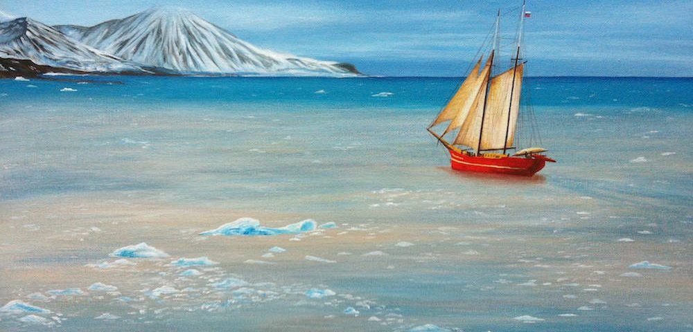 морской пейзаж арктика море корабль