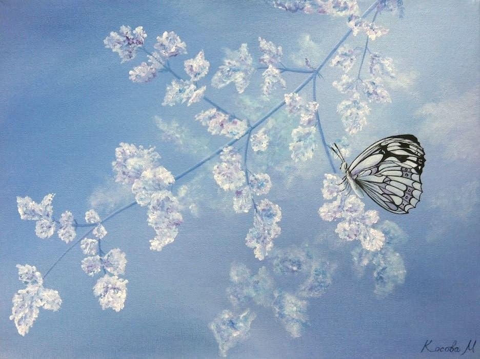 бабочка весна картина маслом