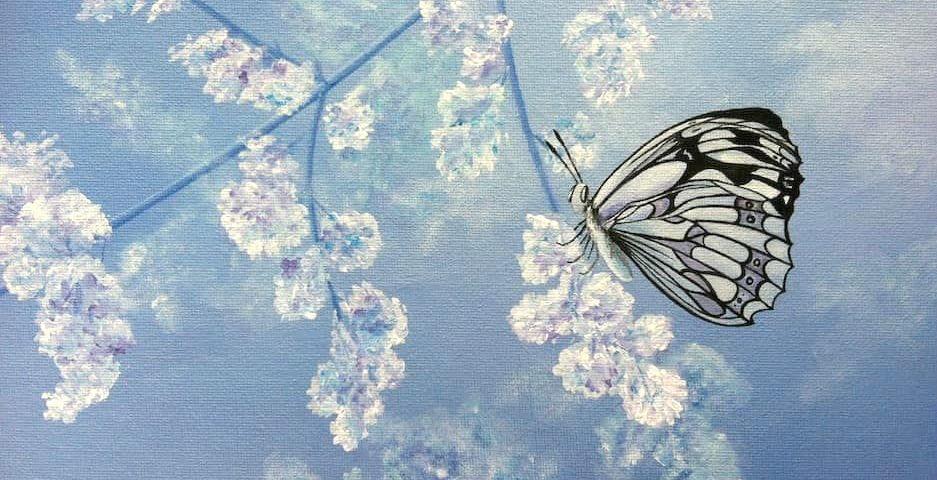 бабочка цветы весной картина маслом