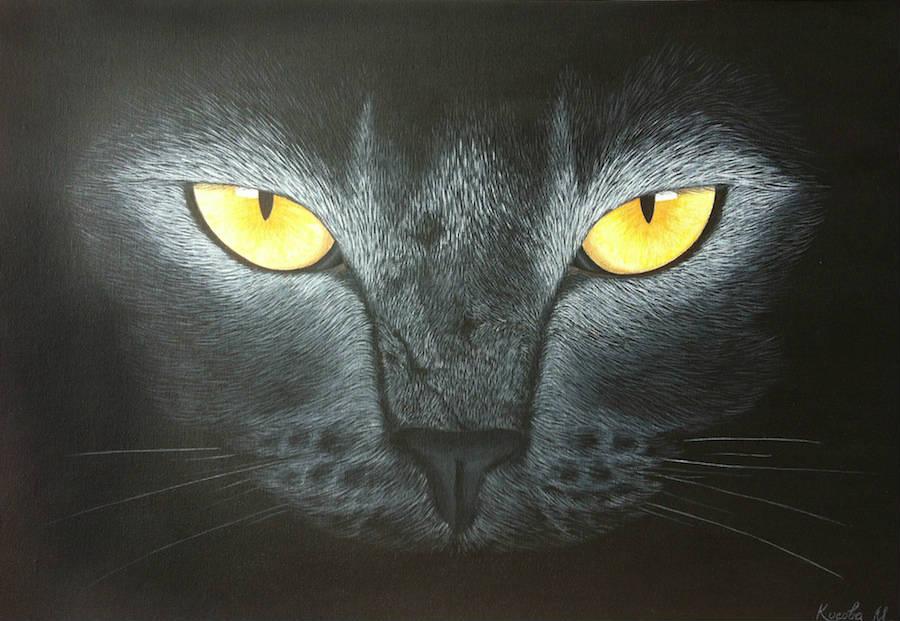 черная кошка картина акрилом