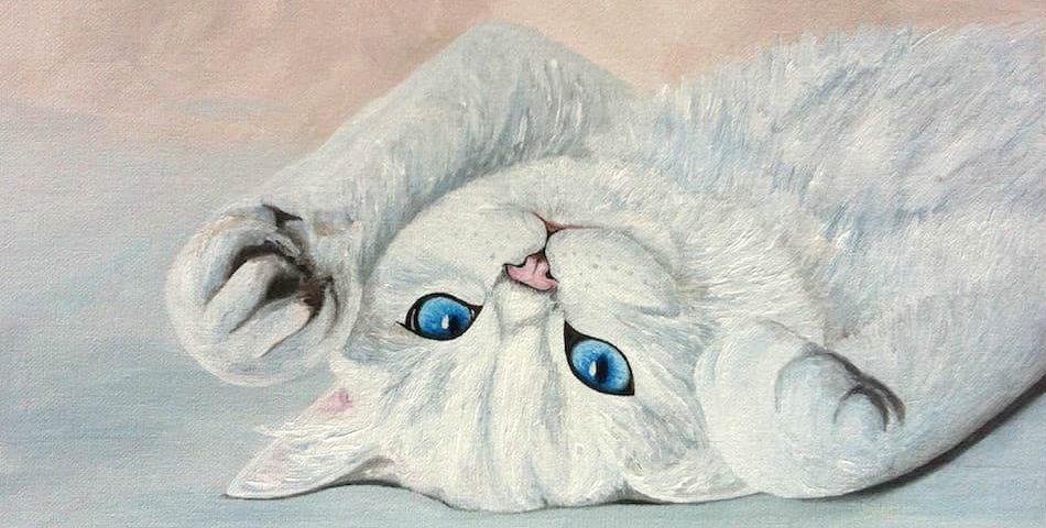 кошка бирюзовые глаза картина масло