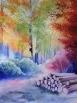 картина акварелью краски осени