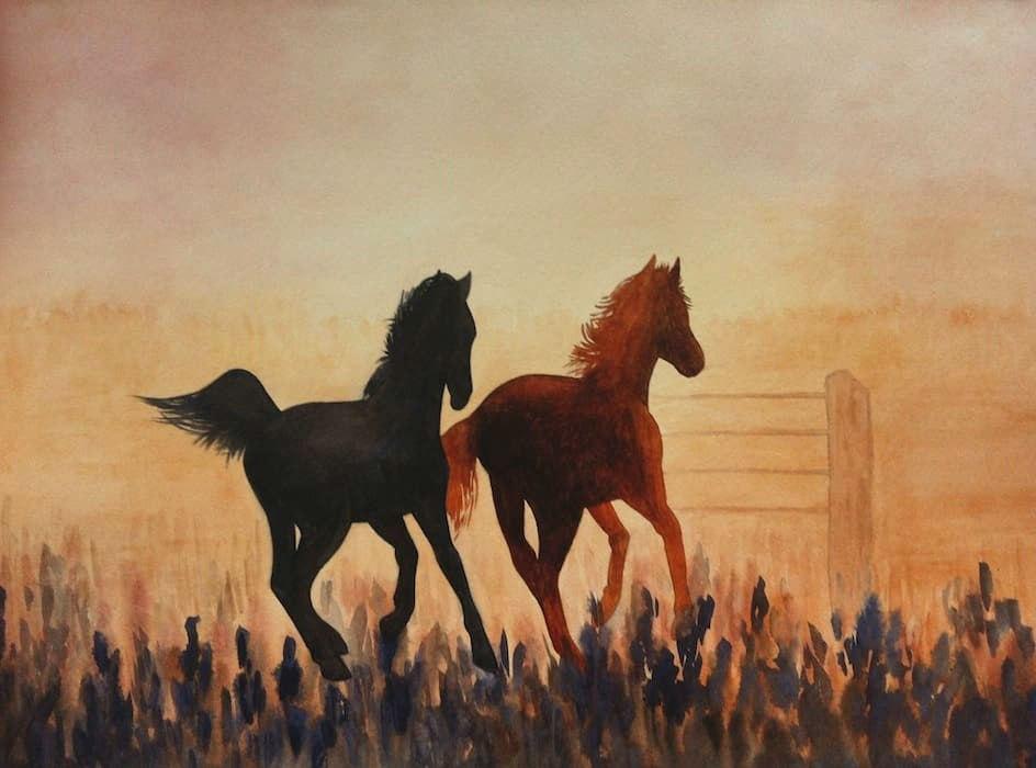 лошади закат картина акварелью