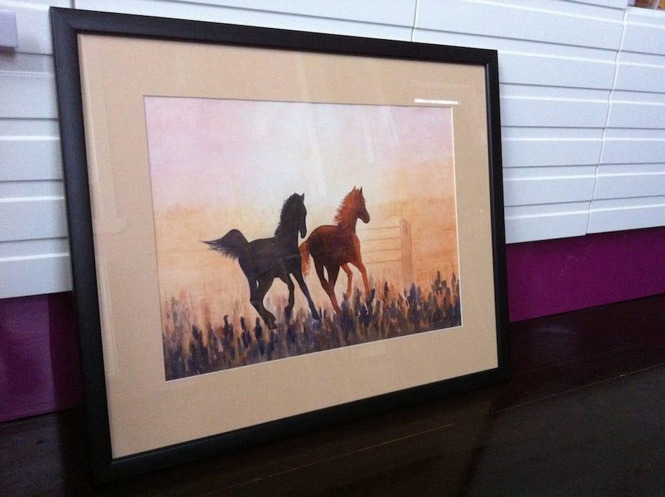 лошади на закате картина акварелью