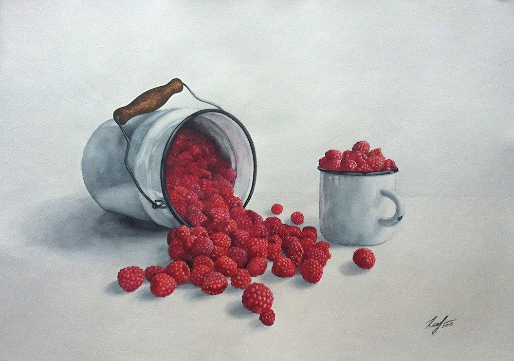 малина картина акварелью ягоды