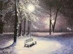 зимний пейзаж маслом снег