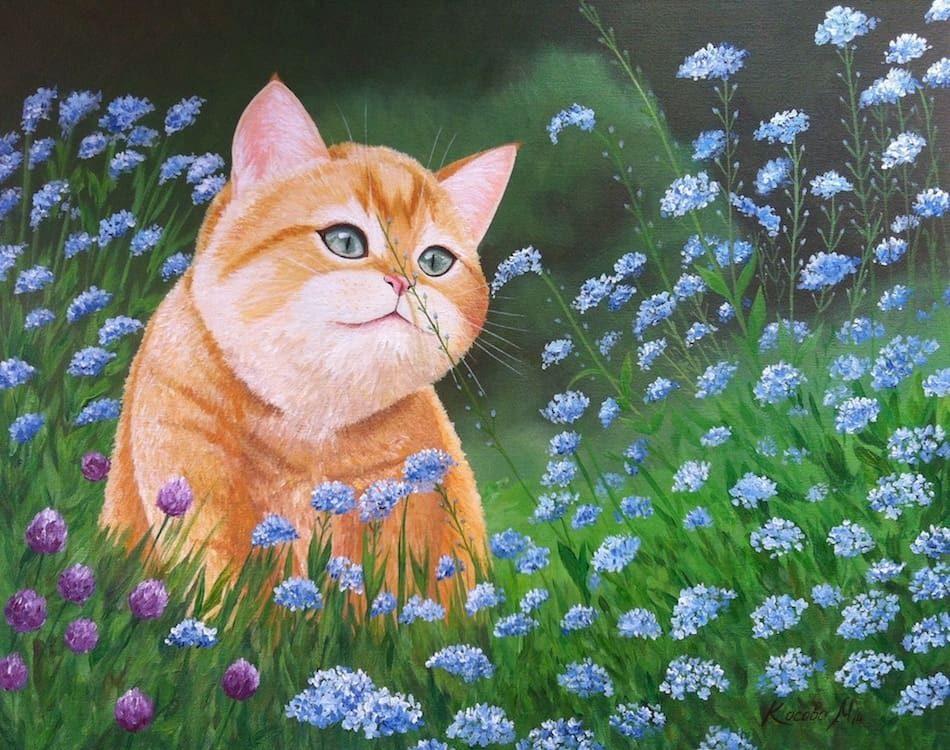 рыжий кот романтический картина маслом