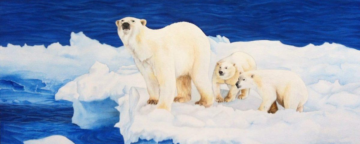 семья белые медведи акварель гуашь
