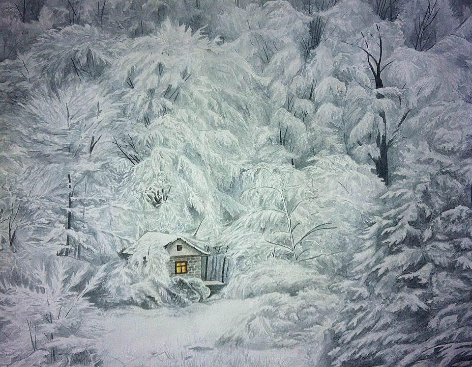 зимний лес картина акварелью гризайль
