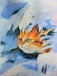 рыжий кот зеленые глаза акварель