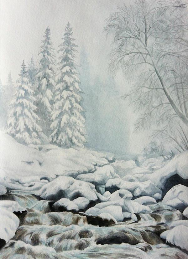 гризайль акварель зимнее утро река