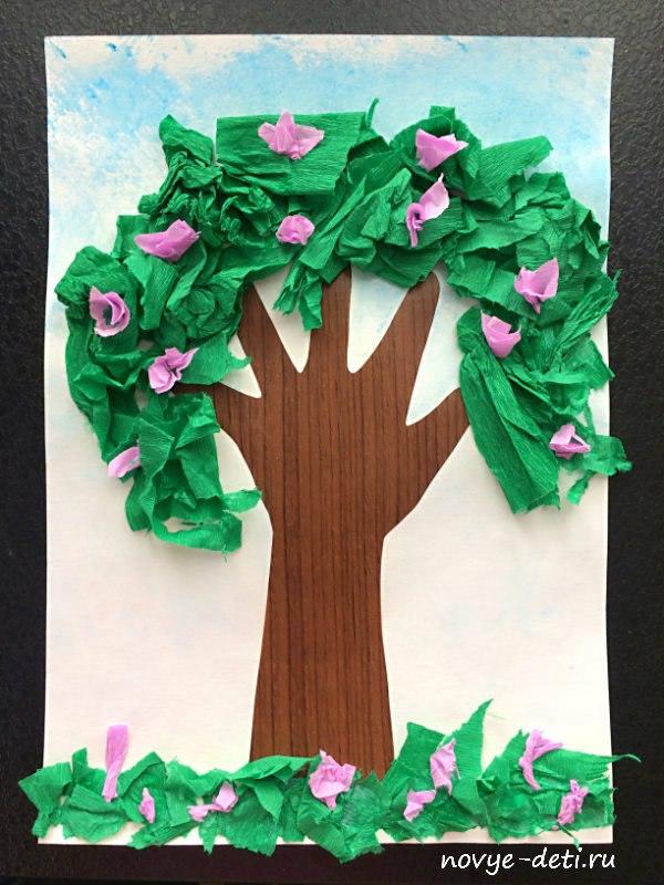 аппликация из бумаги для детей дерево
