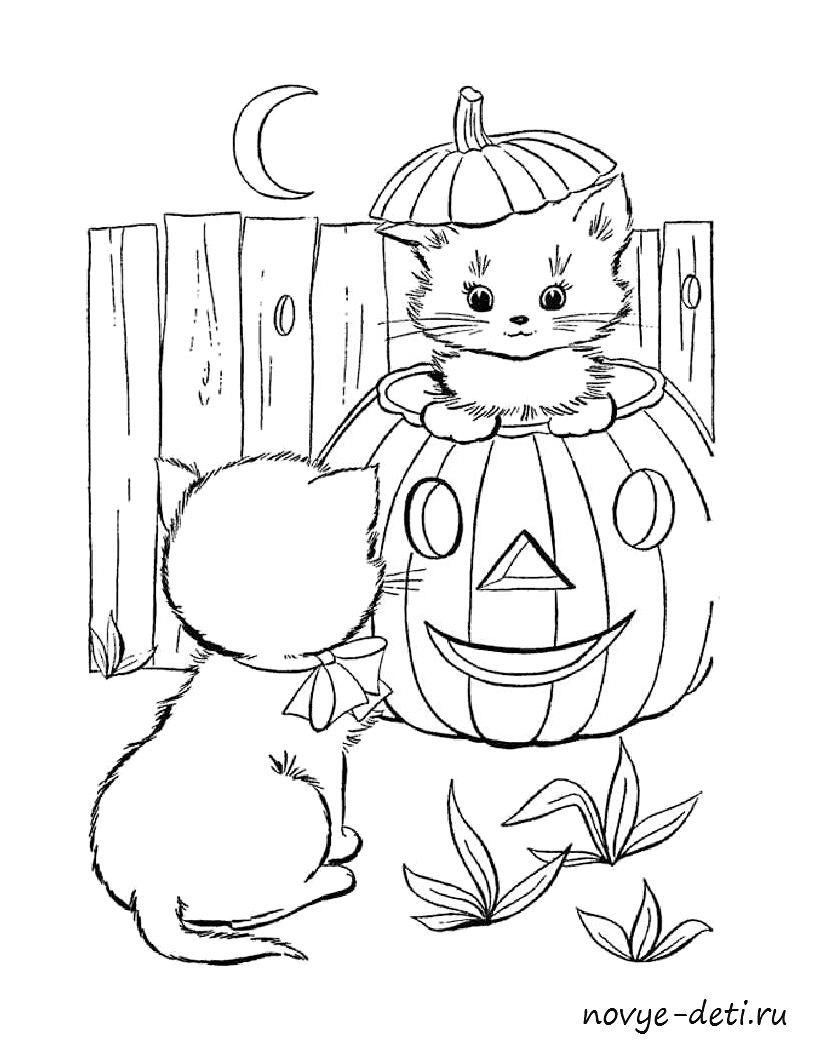 раскраска праздник хэллоуин кошки котята
