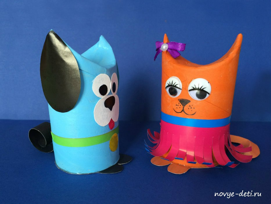 поделки игрушки рулон туалетная бумага кошка и собака