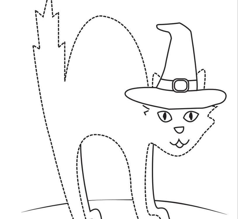 раскраска для детей на хэллоуин кот