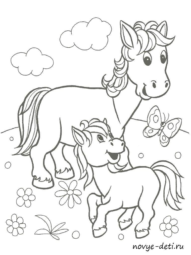 раскраска для детей животные лошадь и жеребенок
