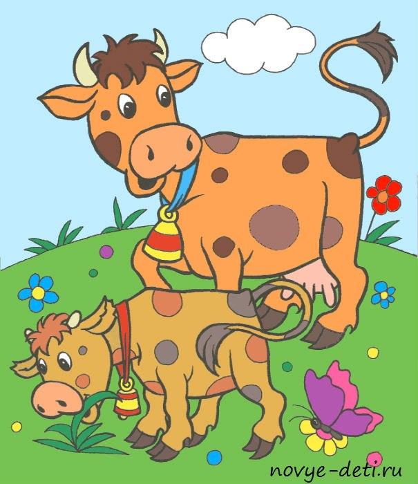 раскраска с образцами животные корова теленок