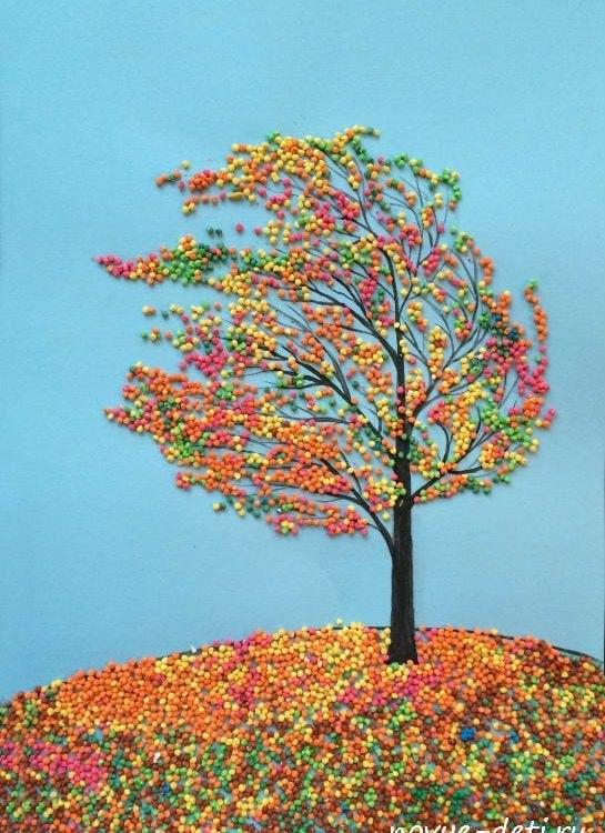 картина из крупы ветер дерево