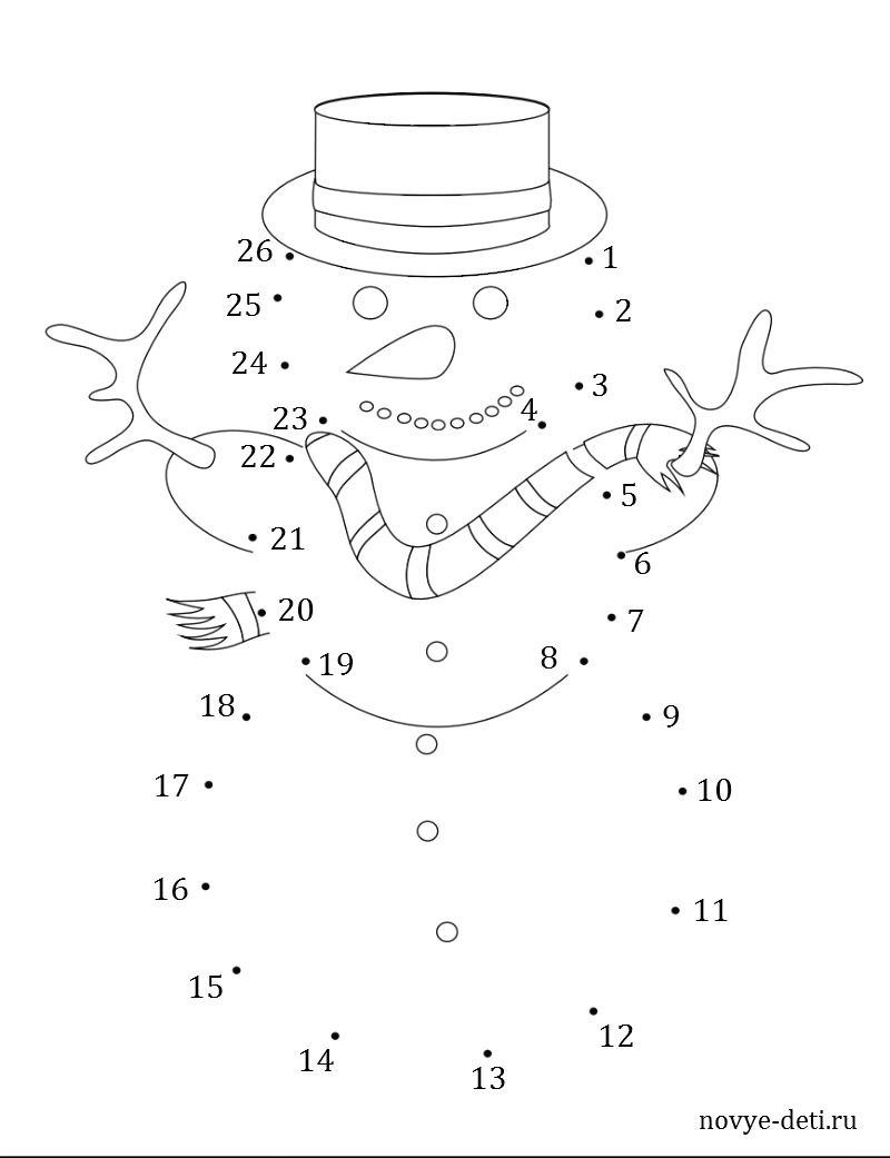 раскраска соедини по цифрам снеговик