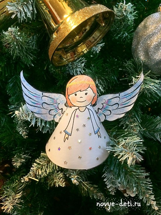 поделки на новый год рождество ангел из бумаги детское творчество