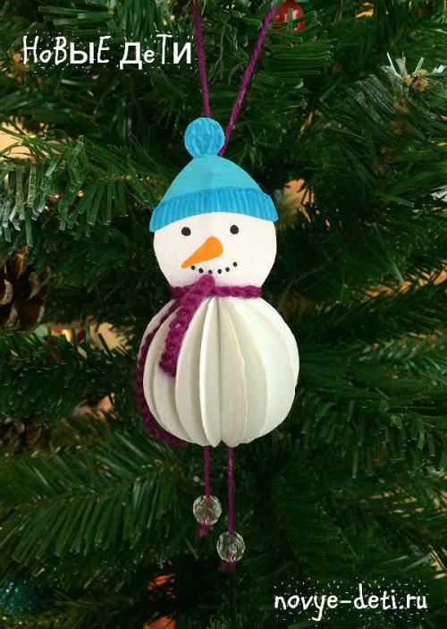 новогодние поделки из бумаги для детей снеговик