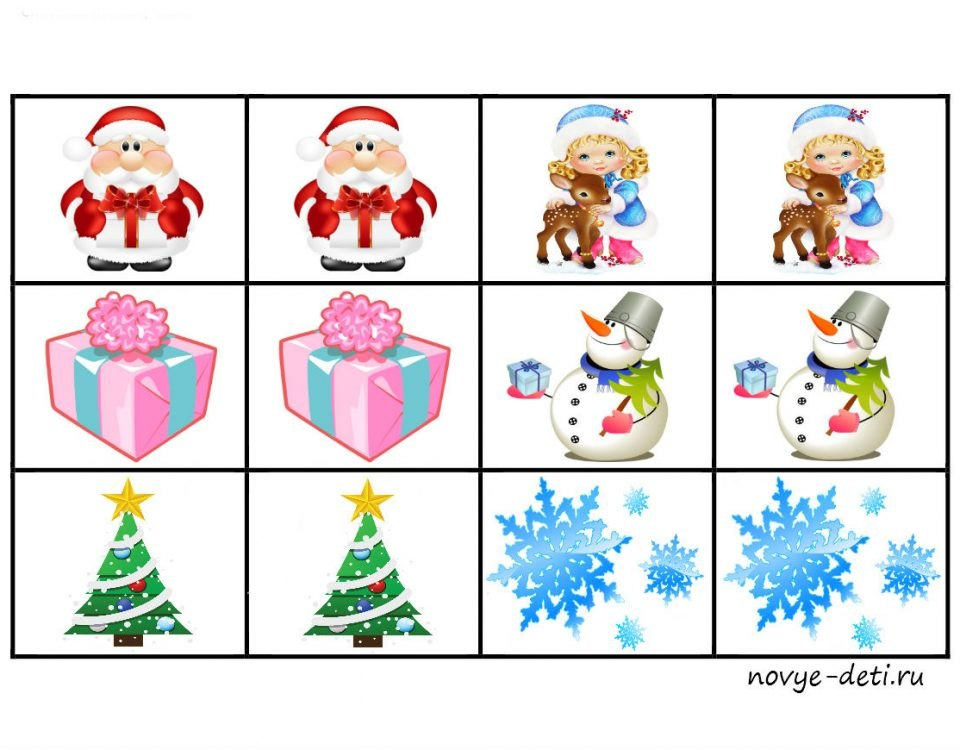 развивающая новогодняя игра мемори дед мороз снеговик
