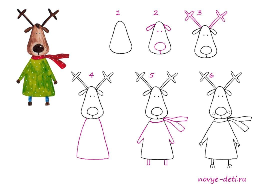 как нарисовать лося оленя уроки рисования для детей