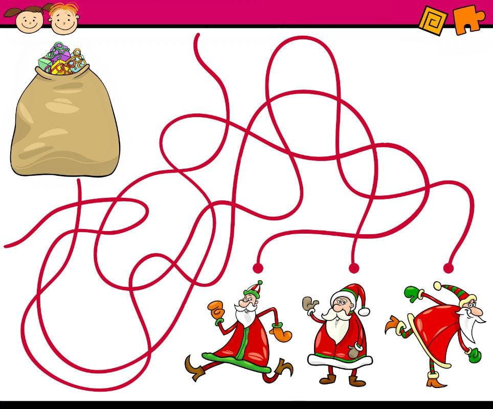 лабиринт для детей распечатать дед мороз ищет подарок