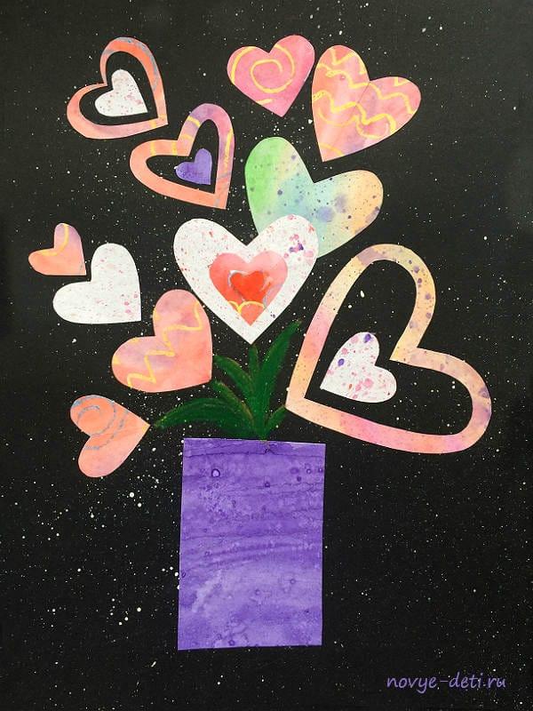 букет из сердец открытка своими руками на день святого валентина