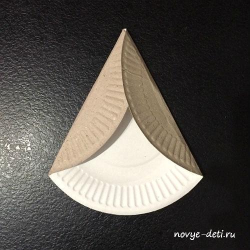 поделки из бумажных тарелок ангел сгибаем