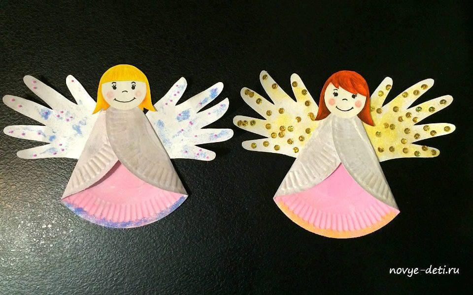 рождественские ангелы поделки из бумажных тарелок