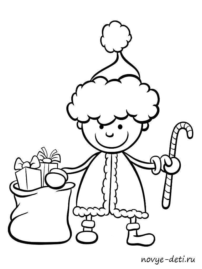 раскраска на новый год мальчик подарки