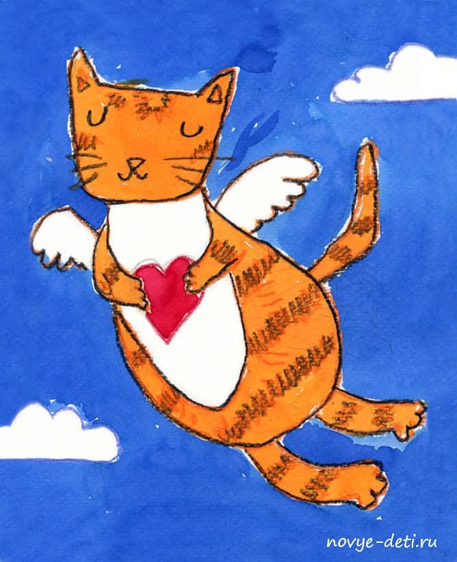 кошка валентинка уроки рисования для детей