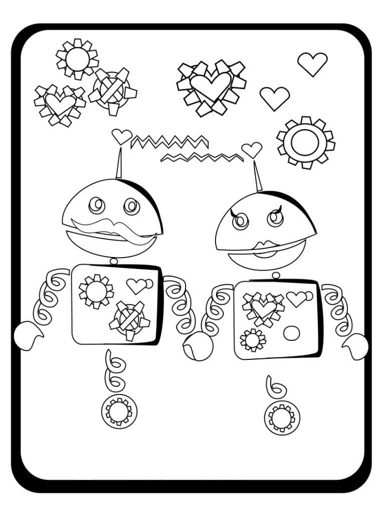 роботы раскраска на день святого валентина