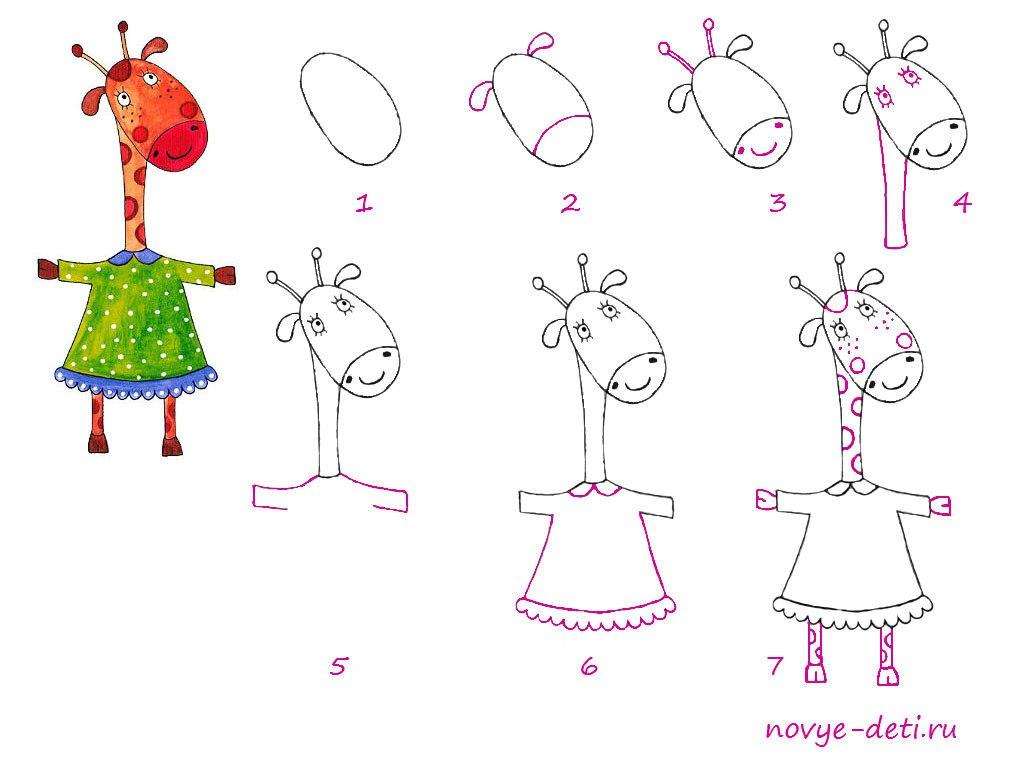 как нарисовать жирафа пошаговый урок