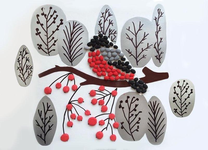 поделка к новому году снегирь ягоды творчество
