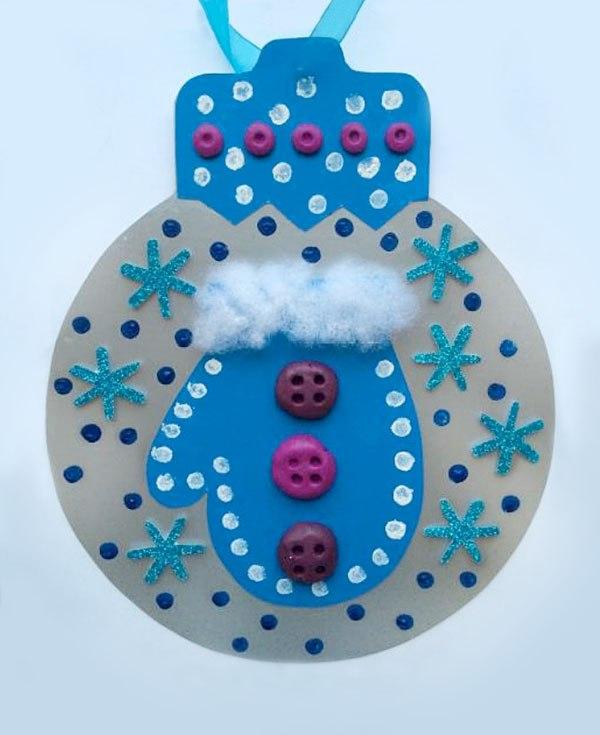 открытка варежка детские поделки на новый год
